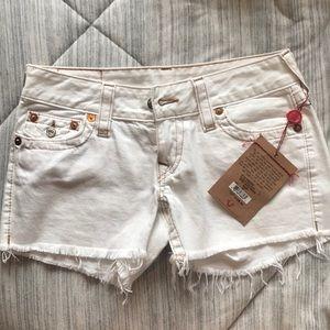 True Religion Kiera Shorts Size 27 White NEW